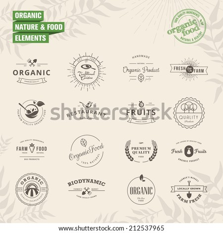 Set of badges and labels elements for organic nature and food  - stock vector