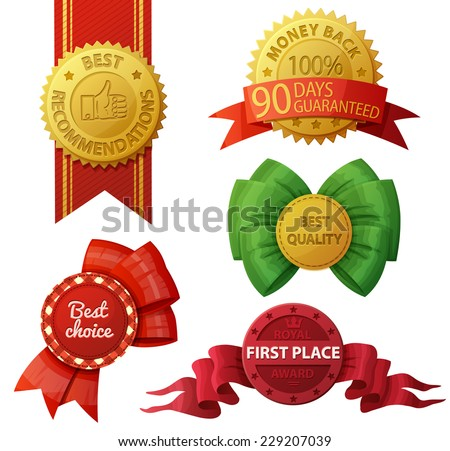 Set of badges and labels isolated on white background. Vector illustration. Best choice. Money back 100% 90 days guaranteed. Best recommendations. First place royal award. - stock vector