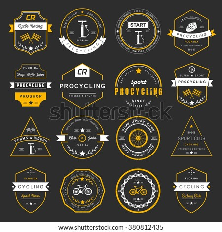 Set of badges and logos cycling. Symbols and emblems pro bike shop and equipment, cycling club and repair shops. - stock vector