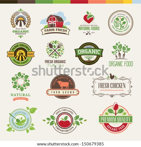 Set of badges and stickers for organic products - stock vector