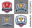Set of badges, emblem and logos for Champion sports league with trophy. Vector illustration.
