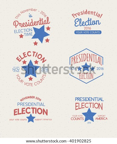 Set of badges for the 2016 Presidential Election - stock vector