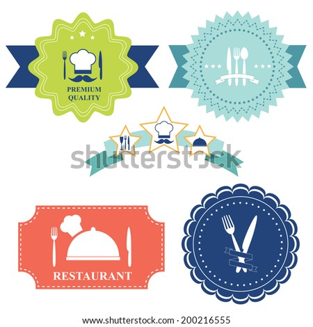 Set of badges, labels and icons of the restaurant  equipment and cutlery. Vector illustration - stock vector