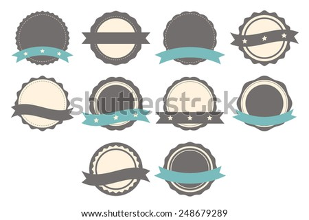 Set of badges, labels and logo template with ribbons. Collection of design elements. Vector illustration - stock vector
