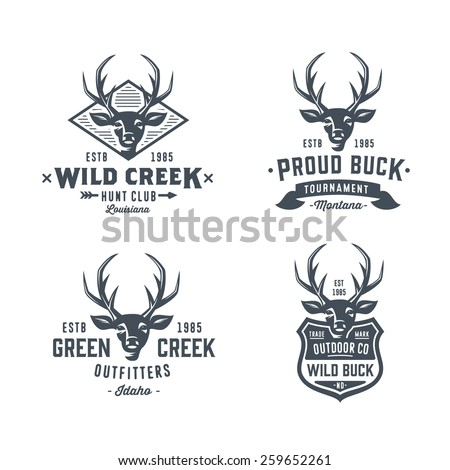 Set of badges labels logo design elements. Deer head. Collection of quality emblem templates for business. Premium retro vintage symbols. Vector illustration. Hand crafted authentic drawn graphics. - stock vector