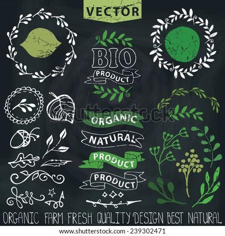 Set of badges,labels,logo,floral elements,wreaths and laurels.Organic,bio,natural design template.Hand drawing painting.Vintage vector,green colors.Logo maker.Chalkboard background - stock vector