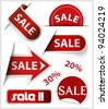 Set of badges, labels, stickers and ribbons with word sale - stock vector