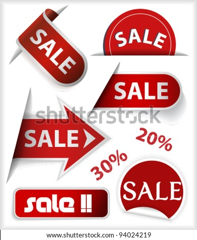 Set of badges, labels, stickers and ribbons with word sale