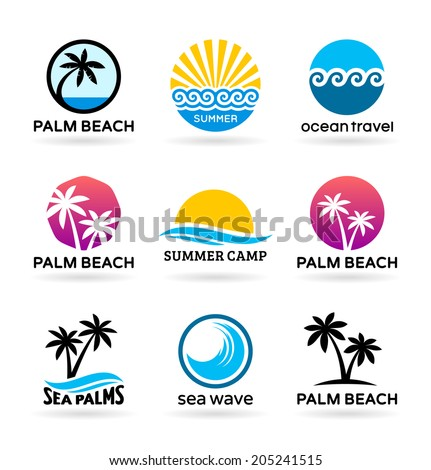 Set of badges of sea beaches with palm trees (1) - stock vector