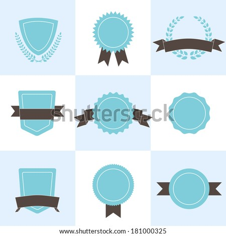 Set of badges, shields and wreaths. - stock vector