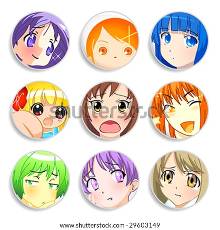 Set of badges with anime girls with different emotions - stock vector