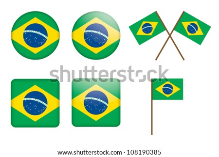 set of badges with flag of Brazil vector illustration - stock vector