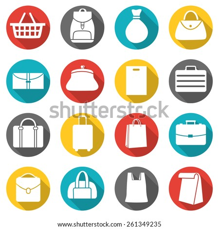 Set of bags icons, flat style icons in circles with long shadows. Vector illustration. - stock vector