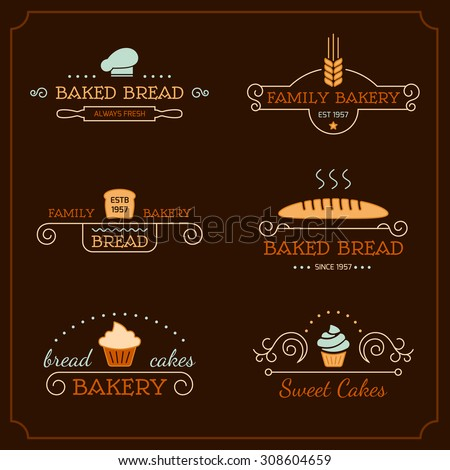 Set of bakery logos, labels, badges and design elements. Business signs templates, icons, identity design elements and objects. - stock vector