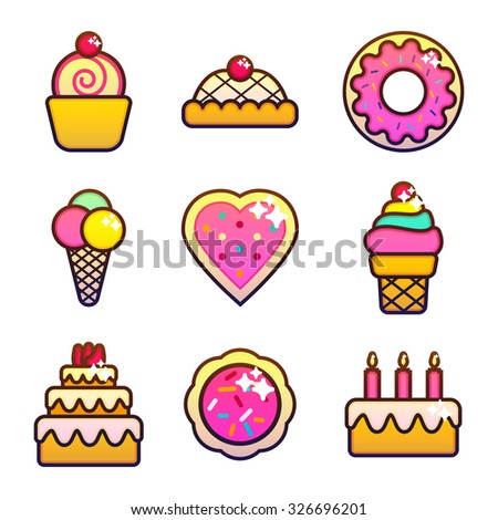 Set of bakery, pastry and sweets icons. Bread, donut, cake, candy, cupcake. Vector Illustration.