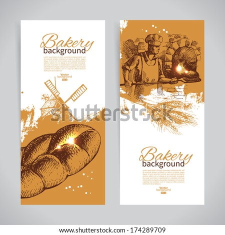 Set of bakery sketch banners. Vintage hand drawn illustrations - stock vector