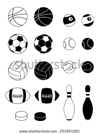 Set of ball for diferent sport games and sport equipment. black and white, vector art image illustration, isolated on white background. silhoutte and outline design - stock vector