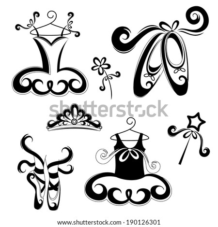 Set of ballerina accessories - stock vector