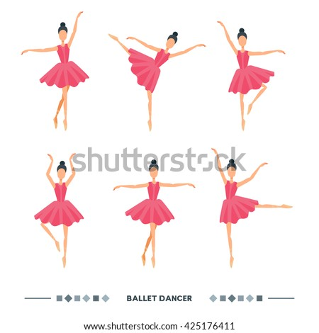 Set of ballet dancers poses. Women ballet icons, symbols. Elegance ballet postures vector illustration isolated on white background. Cartoon ballerina in pink tutu dress. - stock vector