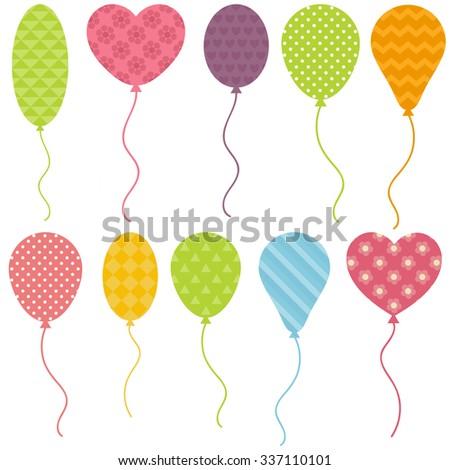 set of balloons - stock vector