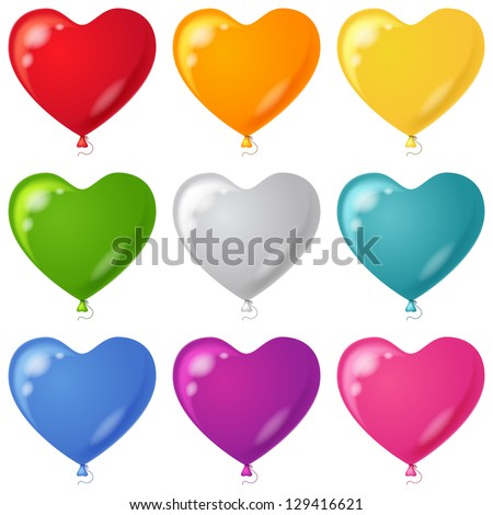 Set of balloons in the form of hearts various beautiful colors, isolated, eps10, contains transparencies. Vector