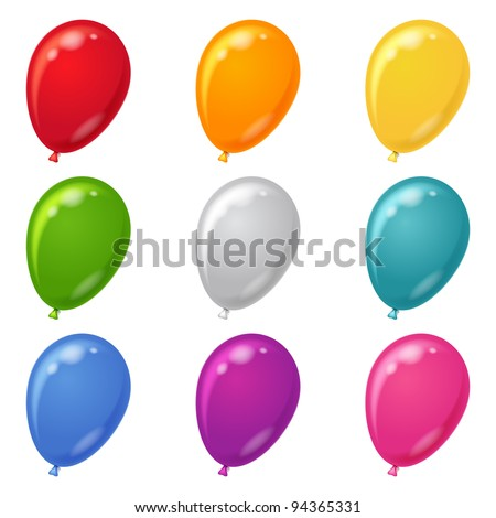 Set of balloons various beautiful colors, isolated, eps10, contains transparencies. Vector - stock vector