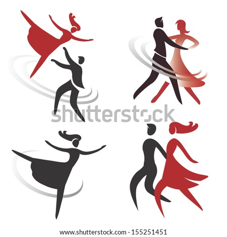 Set of ballroom, dancing and ballet icons. Vector illustration - stock vector
