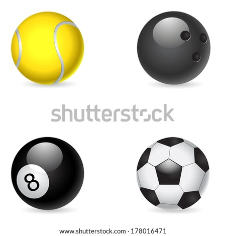 Set of balls isolated on white background. VECTOR illustration, - stock vector