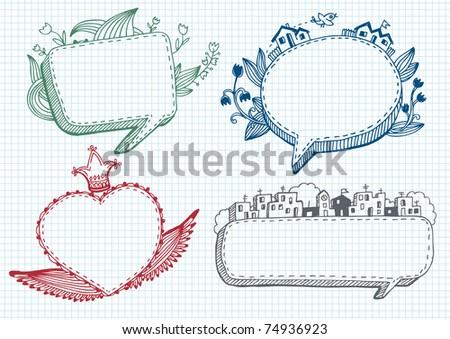Set of banner doodle. - stock vector