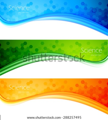 Set of banner science pharmacy chemistry design background - stock vector