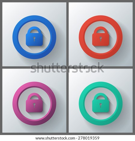 Set of banner templates with locks icon. Eps10 Vector illustration