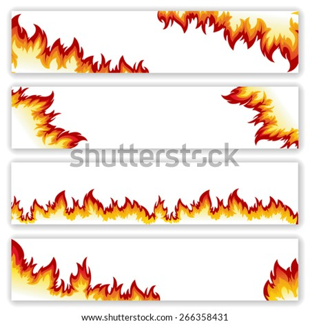 Set of  banners  flame of different shapes on a white background.Clipping Mask.  - stock vector