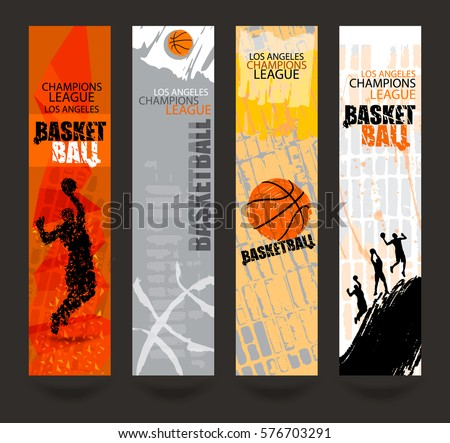 Set Banners Basketball Sports Templates Grunge Stock Vector - Sports banner templates