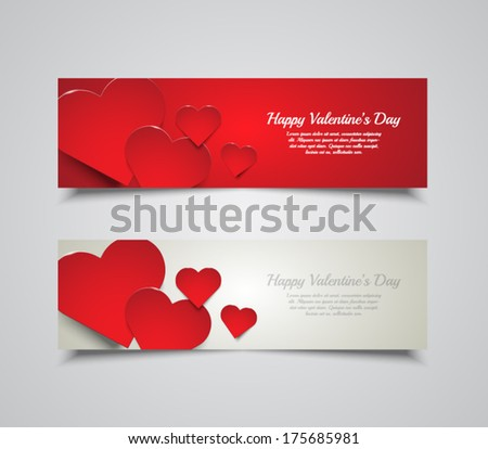 Set of banners for Valentines Day with hearts background. Vector illustration eps10 - stock vector
