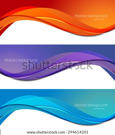 Set of banners in abstract material design style - stock vector