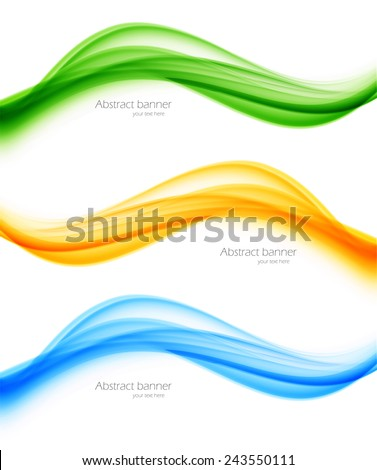 Set of banners in blue orange green colors - stock vector