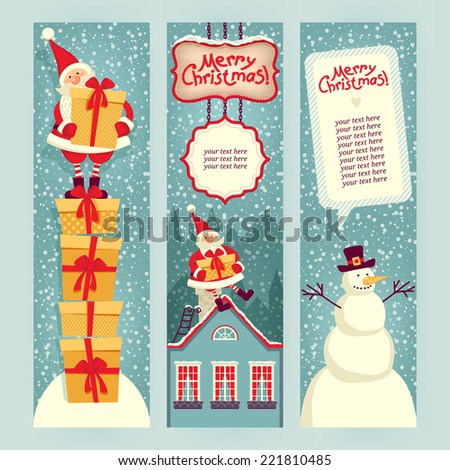 Set of banners. Merry Christmas! Template for the text. - stock vector