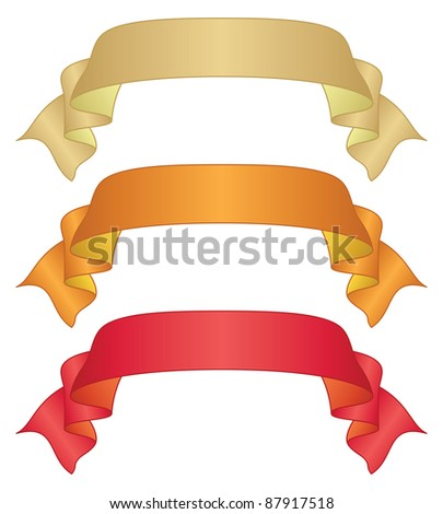 Set of banners modern ribbons, different colors. Vector - stock vector