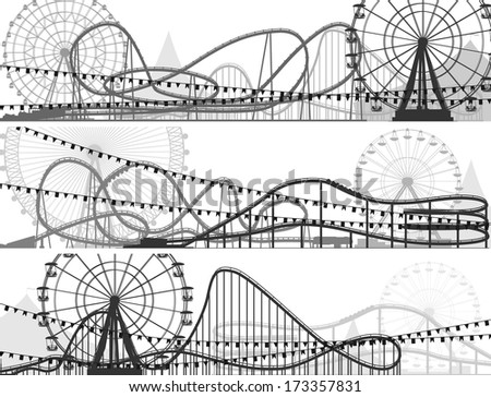 Set of banners of roller-coaster and Ferris Wheel from amusement park. - stock vector