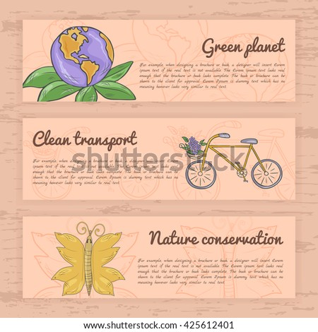 Set of banners on a theme  Garbage recycling, global conservation ecology, clean transport, energy savings. Vector illustration - stock vector