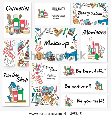Set of banners, posters and business card with make up artist objects - lipstick, cream, brush. Cosmetics and fashion background. Vector illustration in bright color.. - stock vector