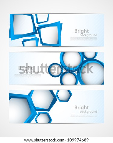Set of banners with blue 3d elements - stock vector