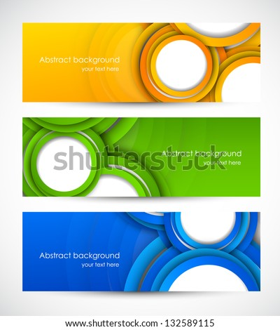 Set of banners with circles - stock vector