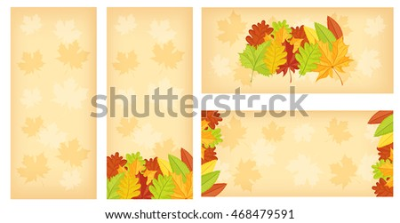 Set of banners with colorful autumn leaves