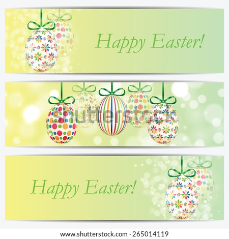 Set of banners with colorful Easter eggs - stock vector