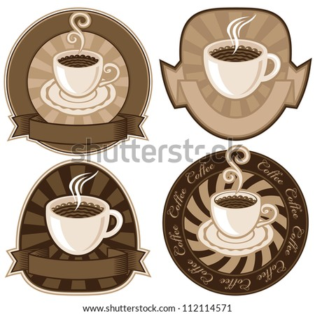 set of banners with cups of tea or coffee - stock vector