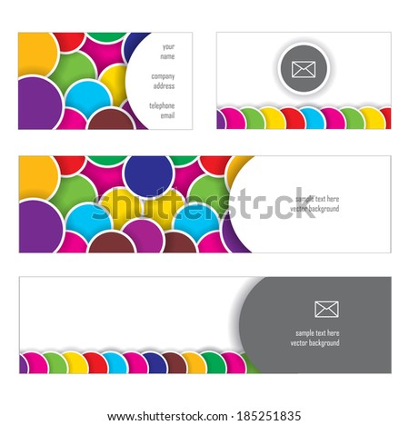 set of banners with dimensional bright bubbles and place for your text
