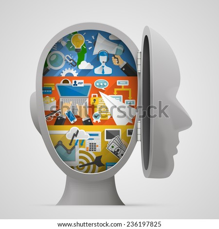 Set of banners with flat icons in the open head. Vector illustration - stock vector