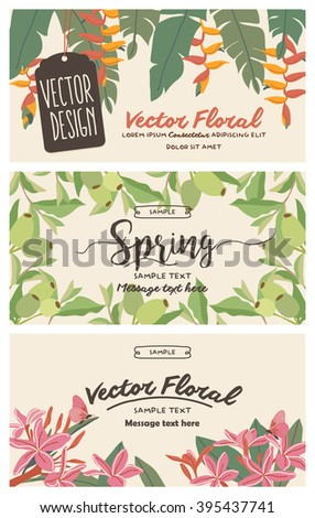 Set of banners with floral backgrounds 1 - stock vector