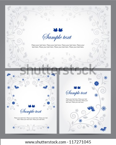Set of banners with floral ornament. Vector background. Easy to edit. Perfect for invitations or announcements. - stock vector